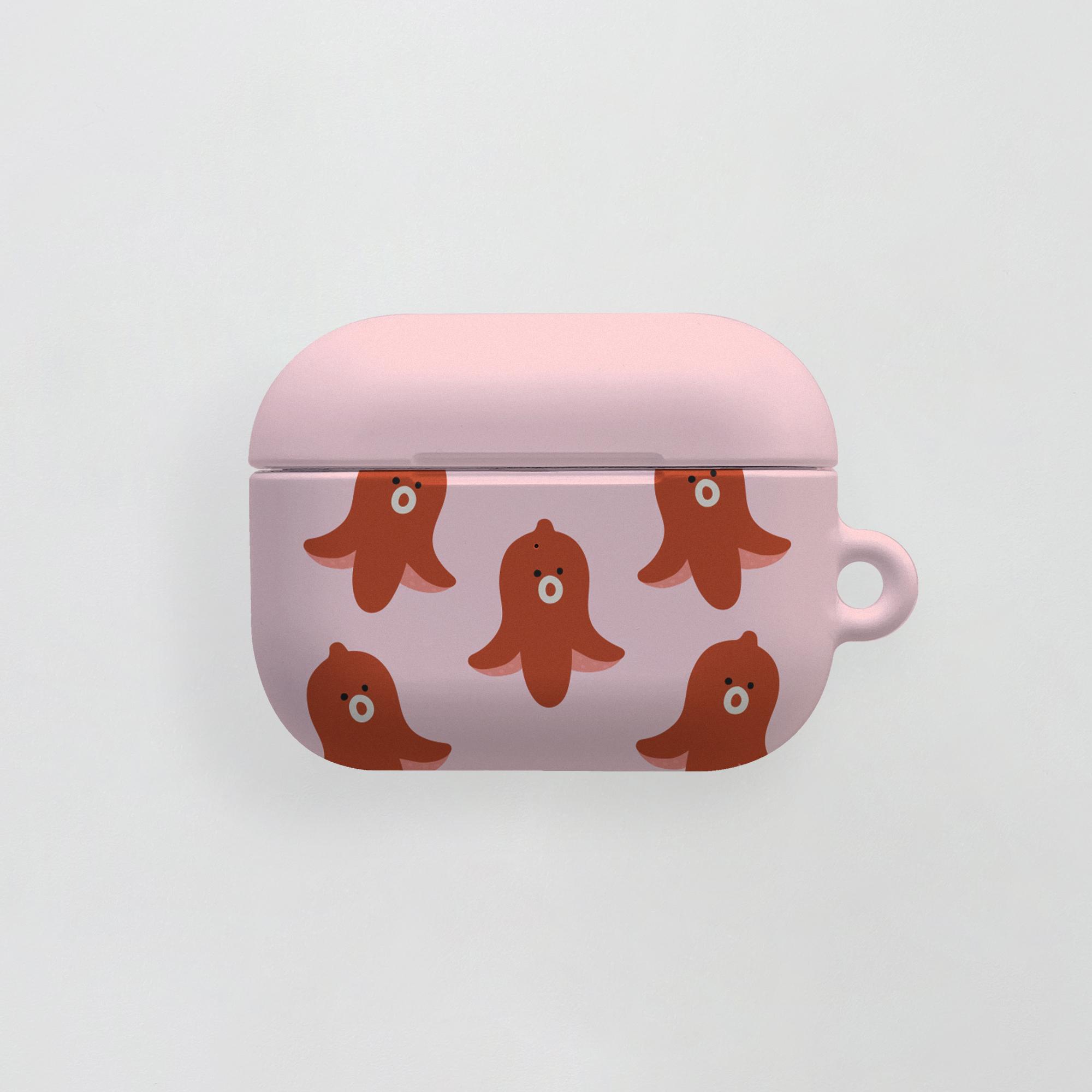 air pro) 무너 패턴 핑크 . 에어팟케이스 에어팟프로케이스 투명케이스 젤리 하드케이스 실리콘케이스