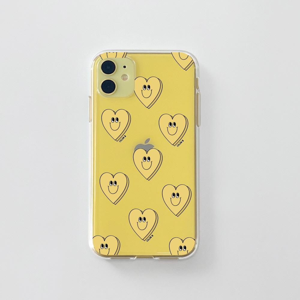 젤리) 욜로 하트 패턴 옐로우 . 아이폰 11 12 XS X 프로 맥스 갤럭시 노트20 S20 21 10 핸드폰 케이스