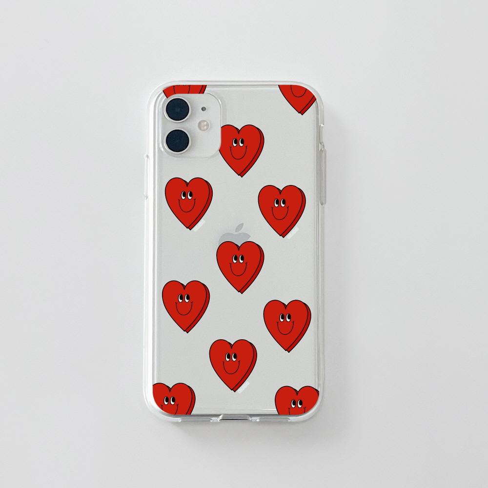젤리) 욜로 하트 패턴 레드 . 아이폰 11 12 XS X 프로 맥스 갤럭시 노트20 S20 21 10 핸드폰 케이스