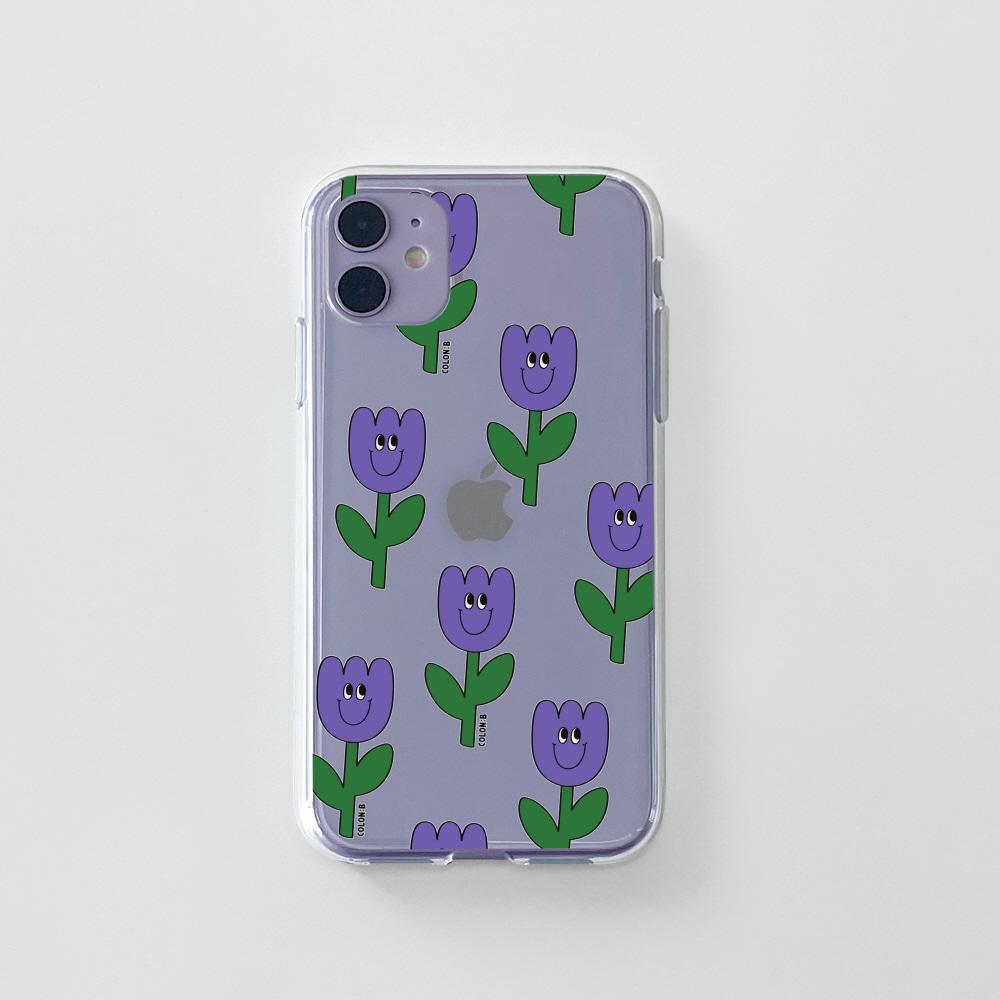 젤리) 욜로 튤립 패턴 퍼플 . 아이폰 11 12 XS X 프로 맥스 갤럭시 노트20 S20 21 10 핸드폰 케이스