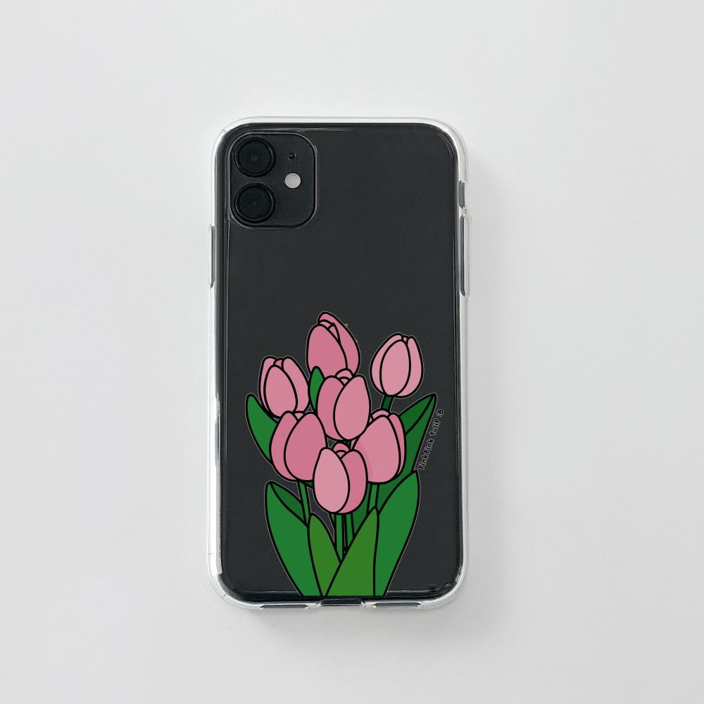 젤리) 콜론비 핑크 튤립 . 아이폰 11 12 13 미니 프로 맥스 7 8 se2 XS 갤럭시 노트10 20 울트라 S20 S21 핸드폰케이스 카드 커플 아이폰케이스 갤럭시케이스 아이폰실리콘케이스