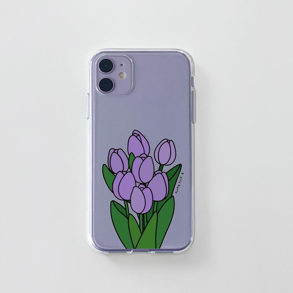 젤리) 콜론비 퍼플 튤립 . 아이폰 11 12 XS X 프로 맥스 갤럭시 노트20 S20 21 10 핸드폰 케이스