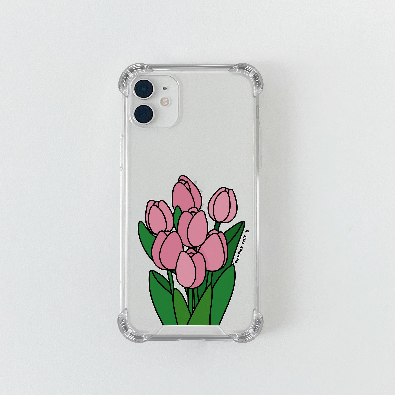 슈퍼) 콜론비 핑크 튤립 . 아이폰 11 12 13 미니 프로 맥스 XS 갤럭시 노트10 20 울트라 S20 S21 핸드폰케이스 카드 커플 아이폰케이스 갤럭시케이스