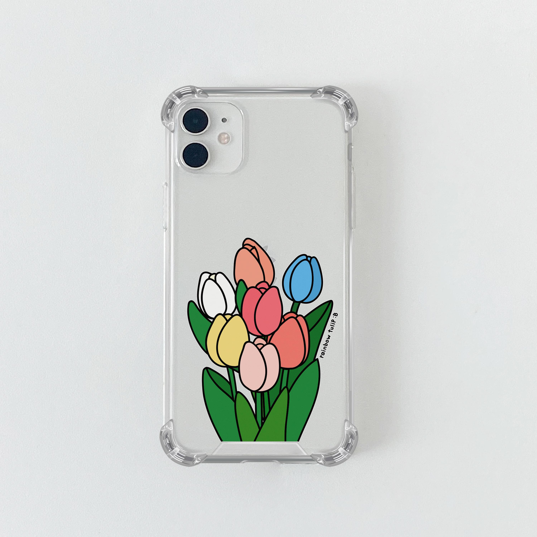 슈퍼) 콜론비 레인보우 튤립 . 아이폰 11 12 13 미니 프로 맥스 XS 갤럭시 노트10 20 울트라 S20 S21 핸드폰케이스 카드 커플 아이폰케이스 갤럭시케이스