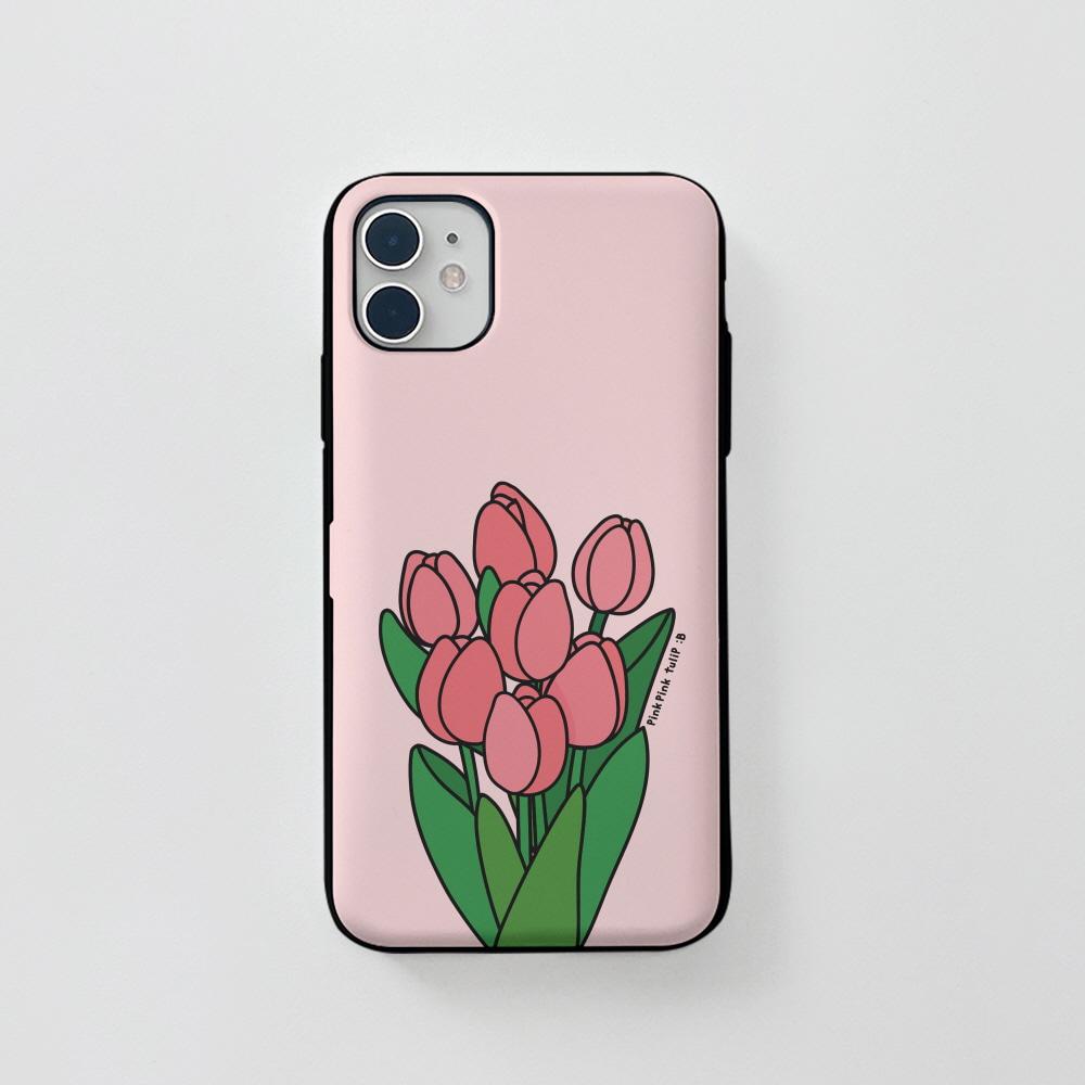 카드) 콜론비 핑크 튤립 . 아이폰 11 12 XS X 프로 맥스 갤럭시 노트20 S20 21 10 핸드폰 케이스