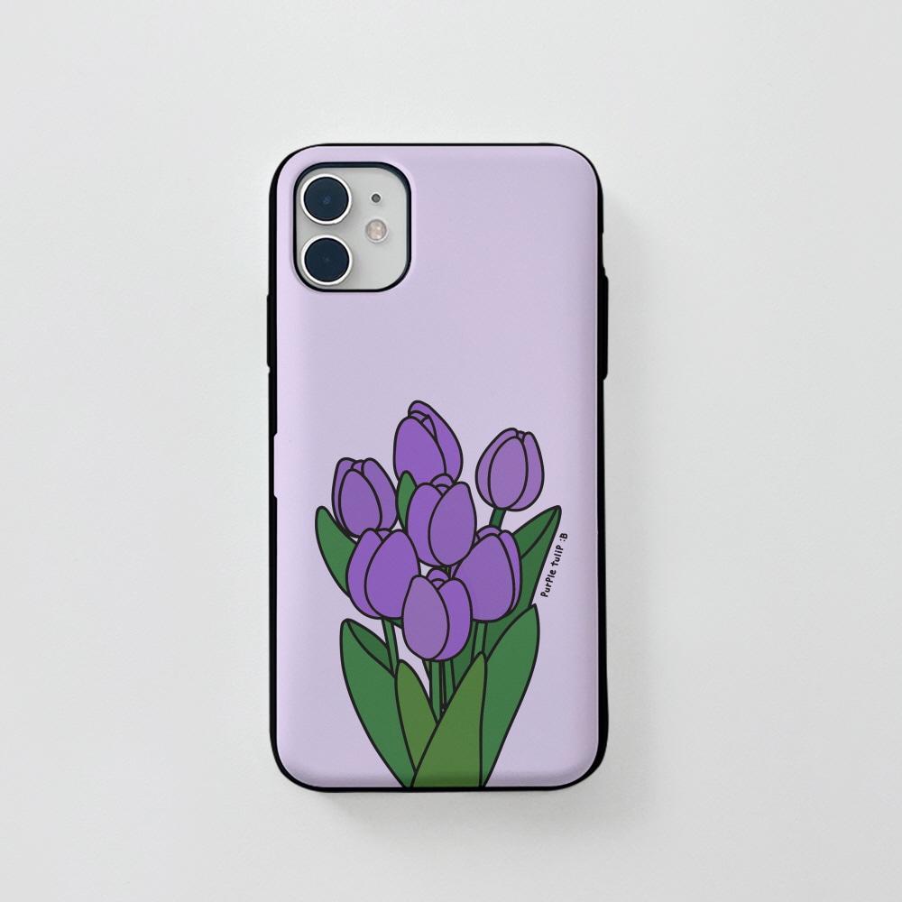 카드) 콜론비 퍼플 튤립 . 아이폰 11 12 XS X 프로 맥스 갤럭시 노트20 S20 21 10 핸드폰 케이스