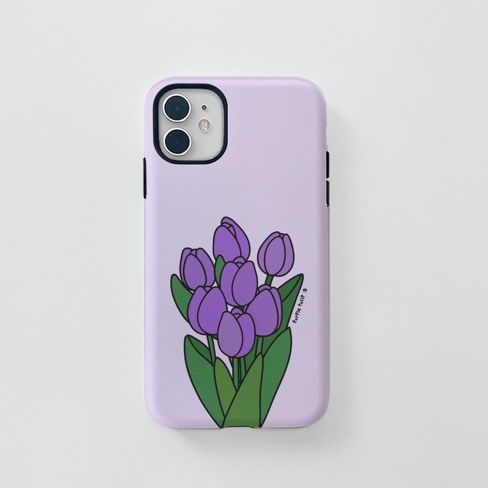 터프) 콜론비 퍼플 튤립 . 아이폰 11 12 XS X 프로 맥스 갤럭시 노트20 S20 21 10 핸드폰 케이스